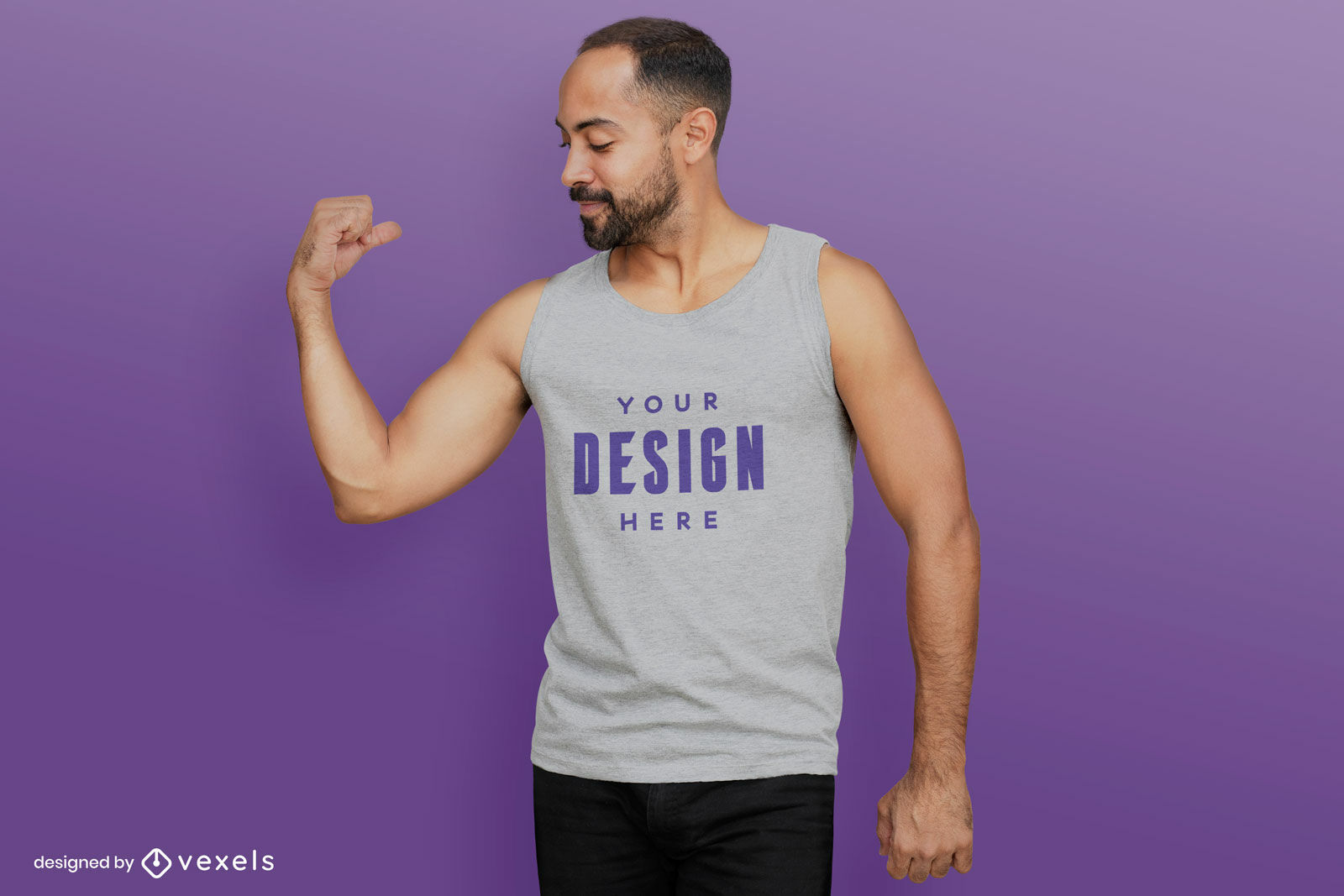 Grey tank top man t-shirt mockup purple background