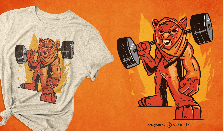Diseño de camiseta de levantamiento de pesas de fitness.