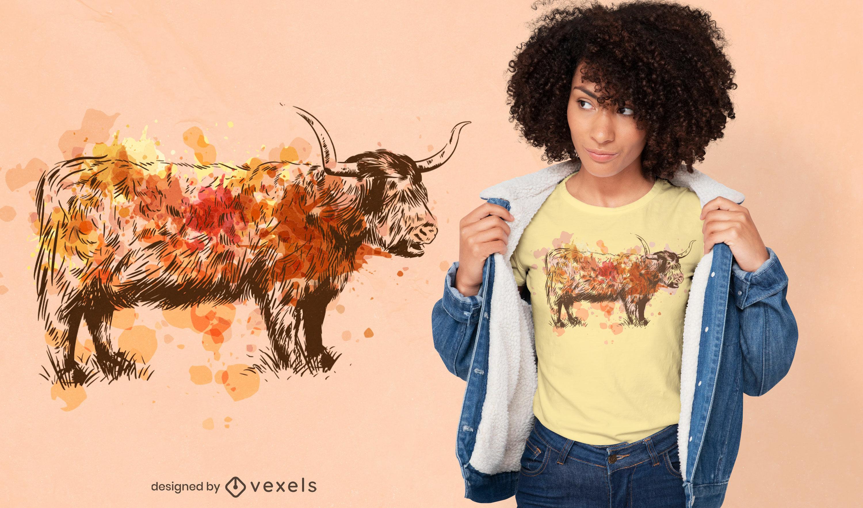 Diseño de camiseta de acuarela de ganado escocés
