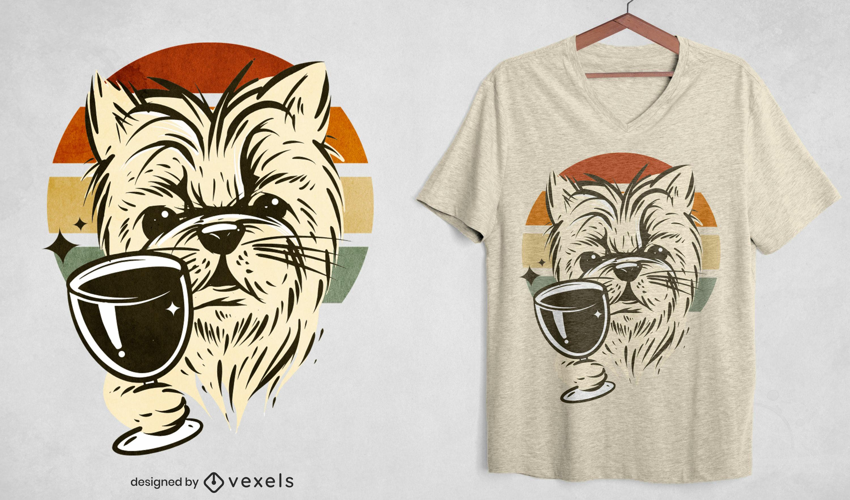 Diseño de camiseta retro de perro bebiendo vino.