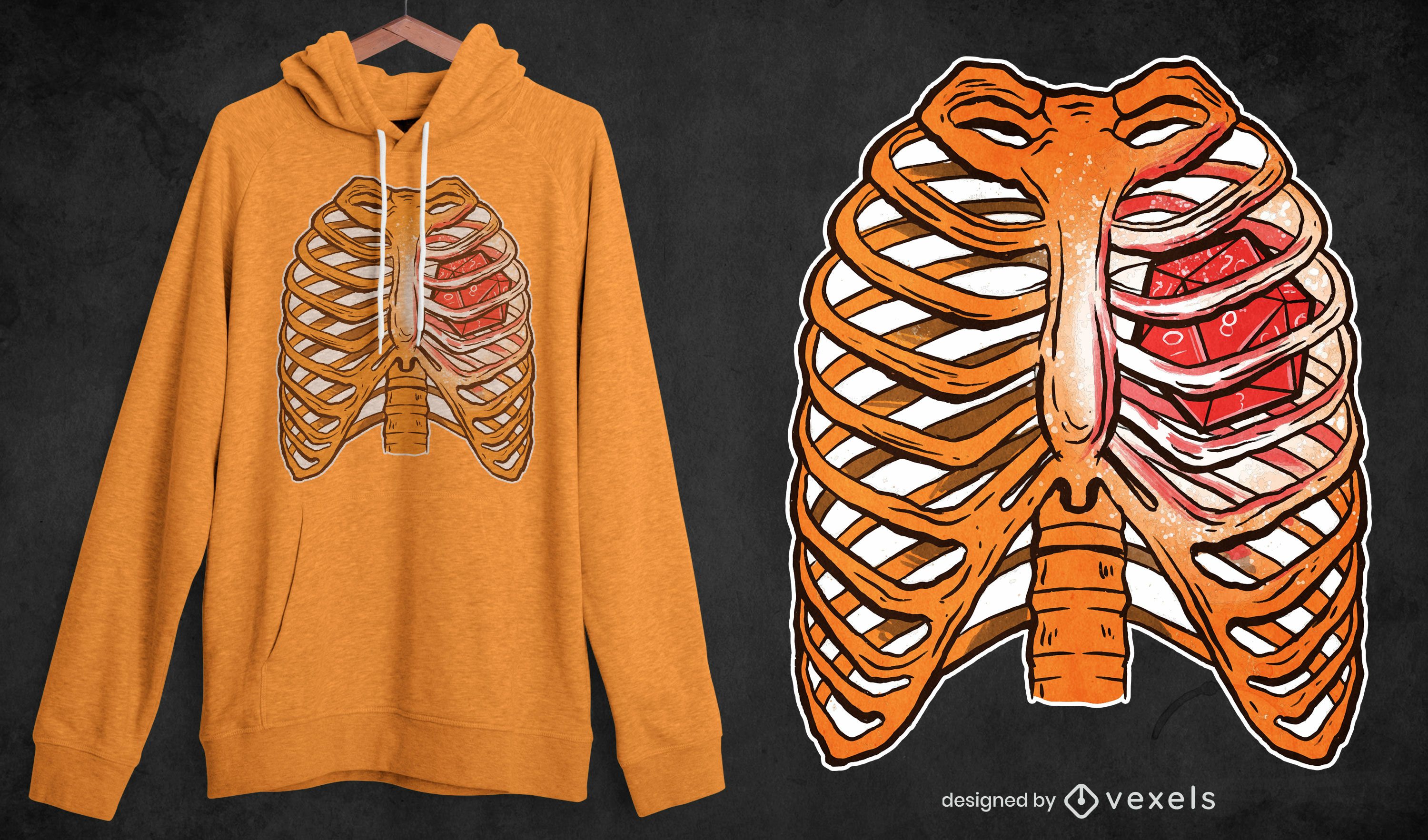 Role-playing dice ribcage t-shirt design