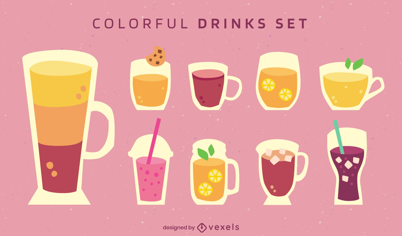 Conjunto plano de copos de bebida