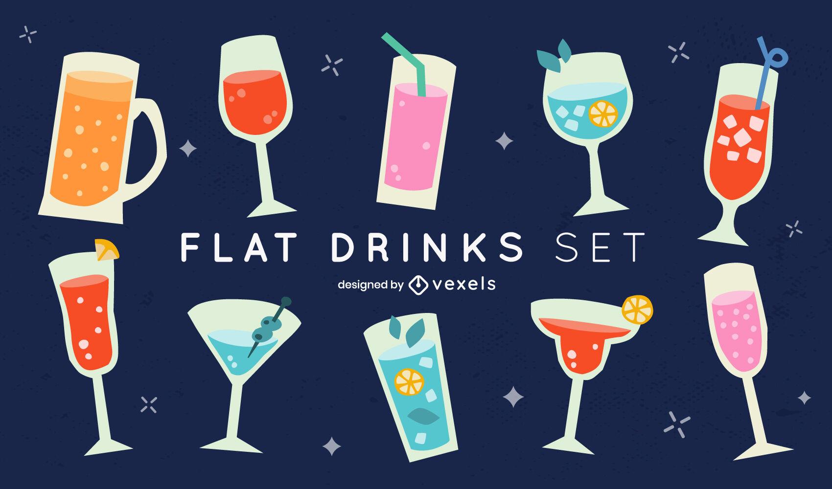 Drink cocktail glasses flat set