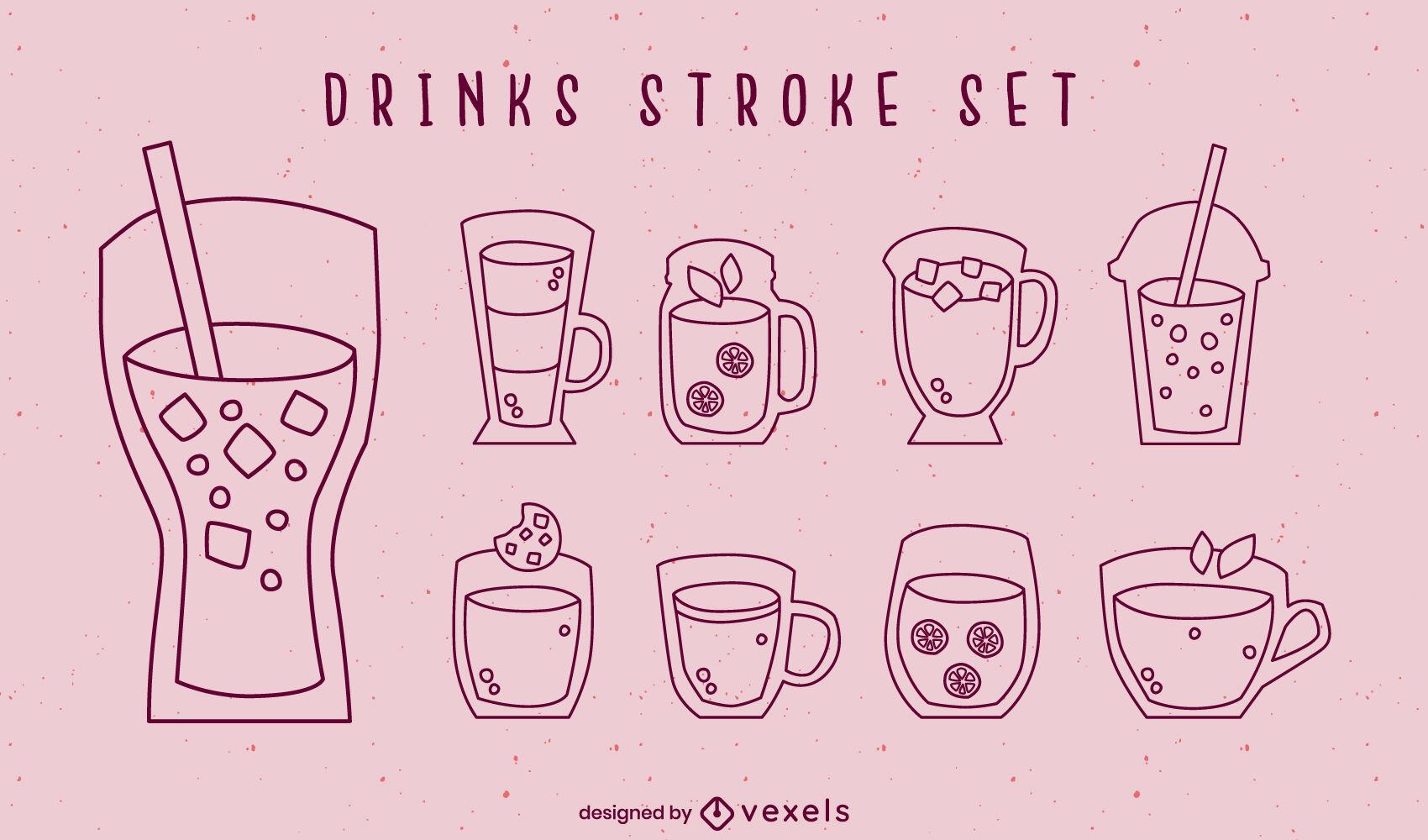 Juego de trazos de vasos de bebida