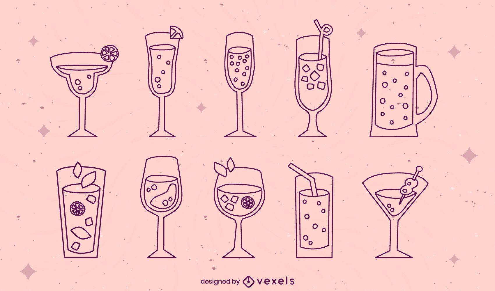 Drink cocktail glasses stroke set