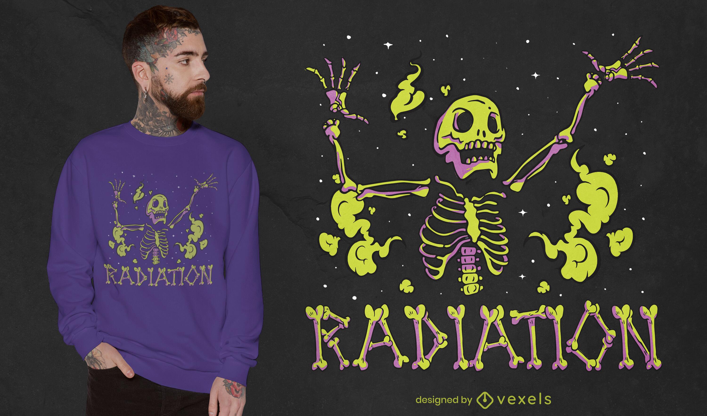Dise?o de camiseta de criatura esquel?tica radiactiva.