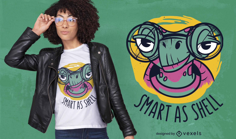 Animal tortuga con dise?o de camiseta de gafas.
