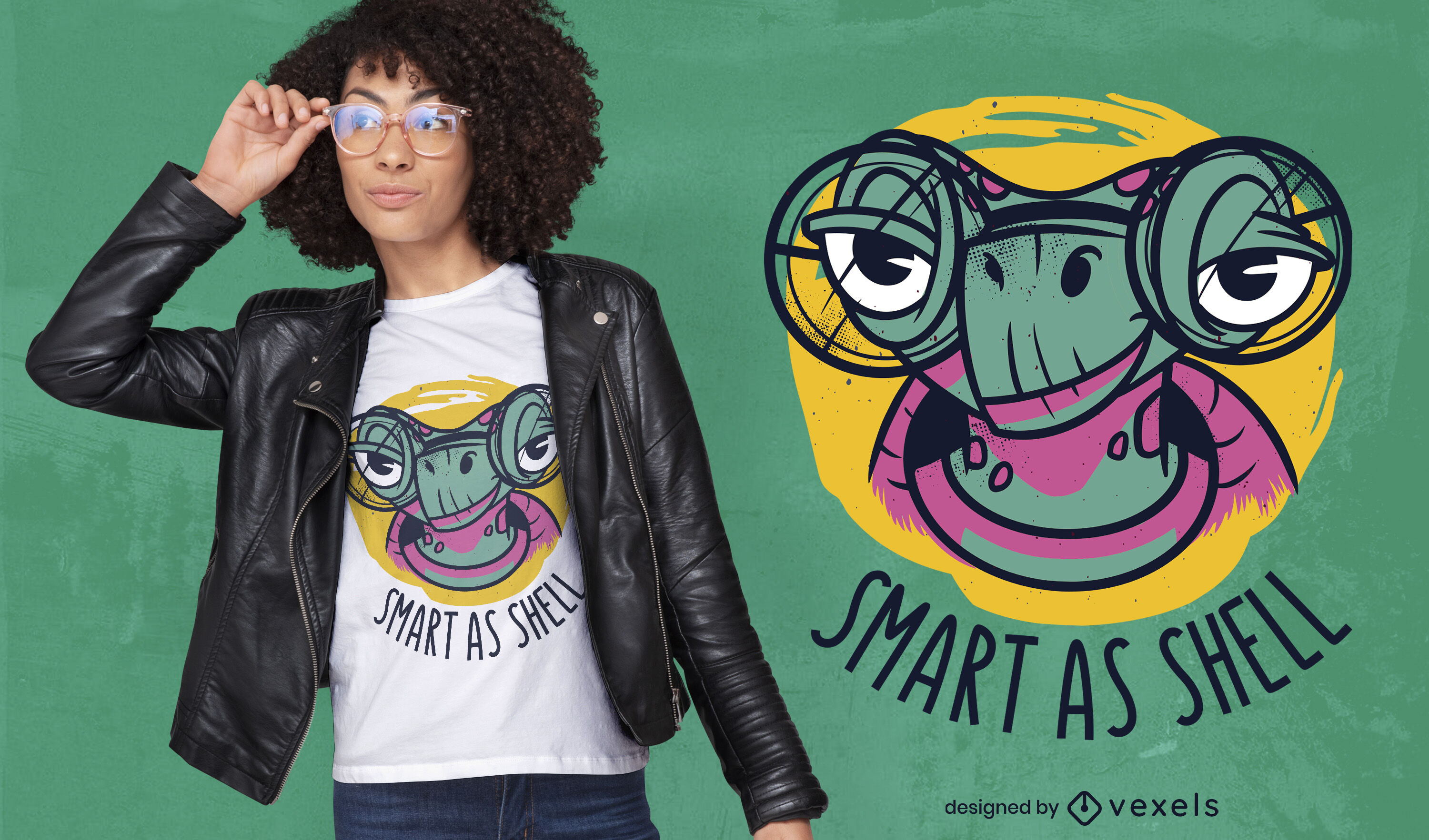 Turtle animal with glasses t-shirt design