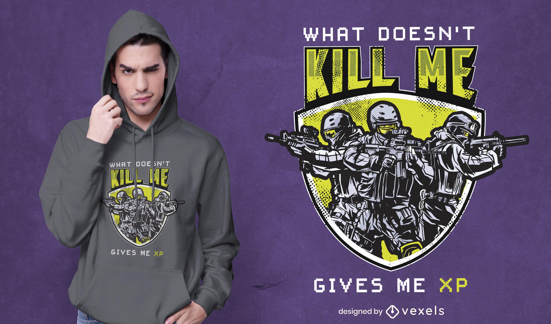 Diseño de camiseta de soldados de disparos de videojuegos.