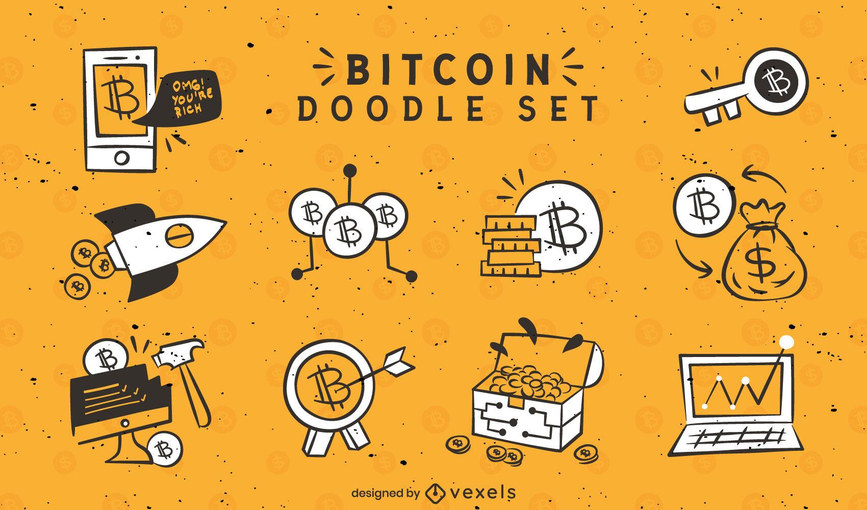 Bitcoin doodle conjunto de elementos