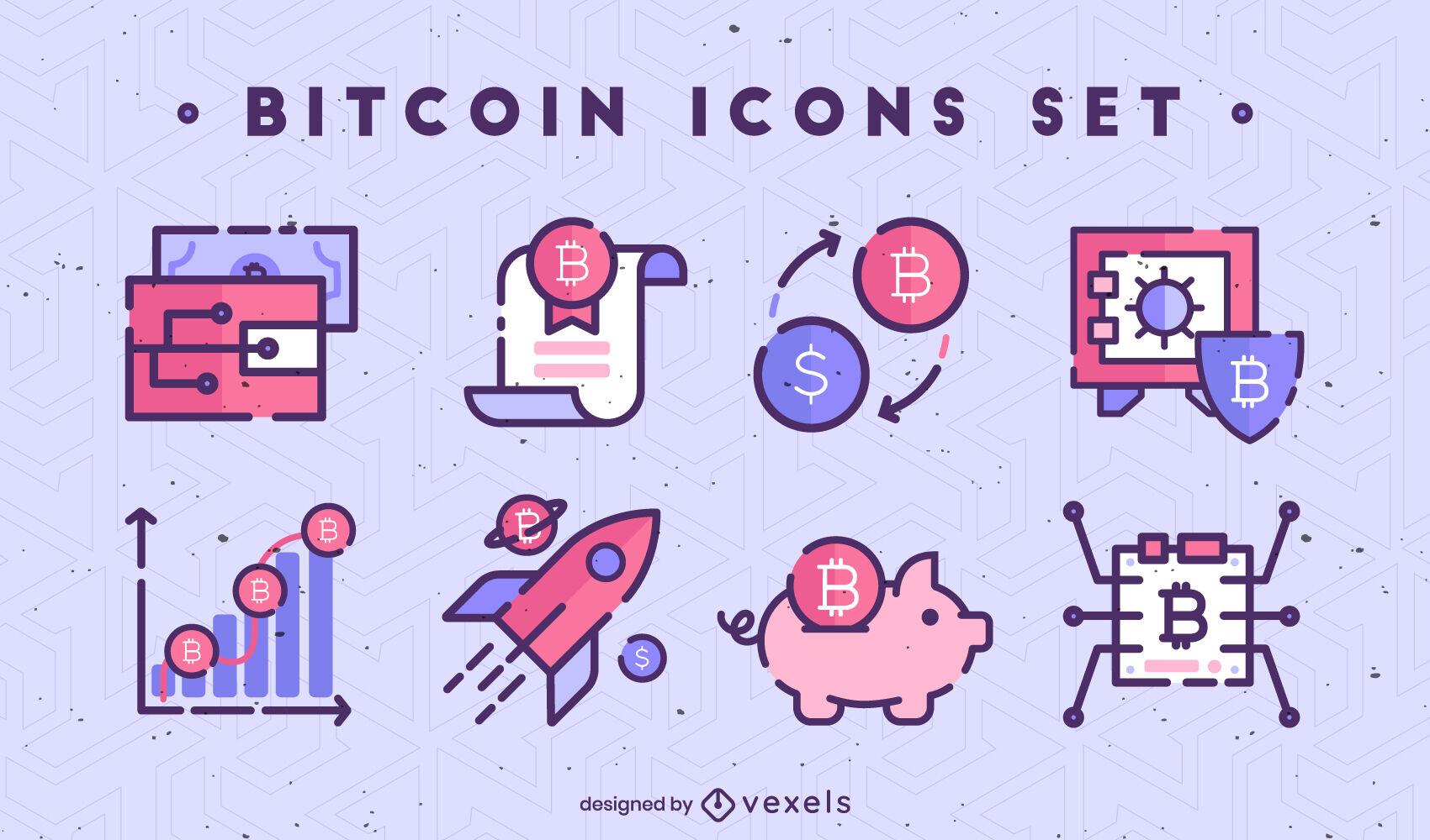 Conjunto de iconos de trazo de color Bitcoin