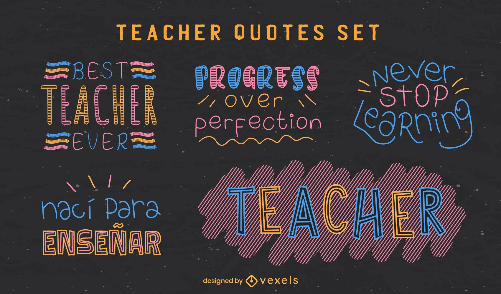 Set of lettering school teacher badges