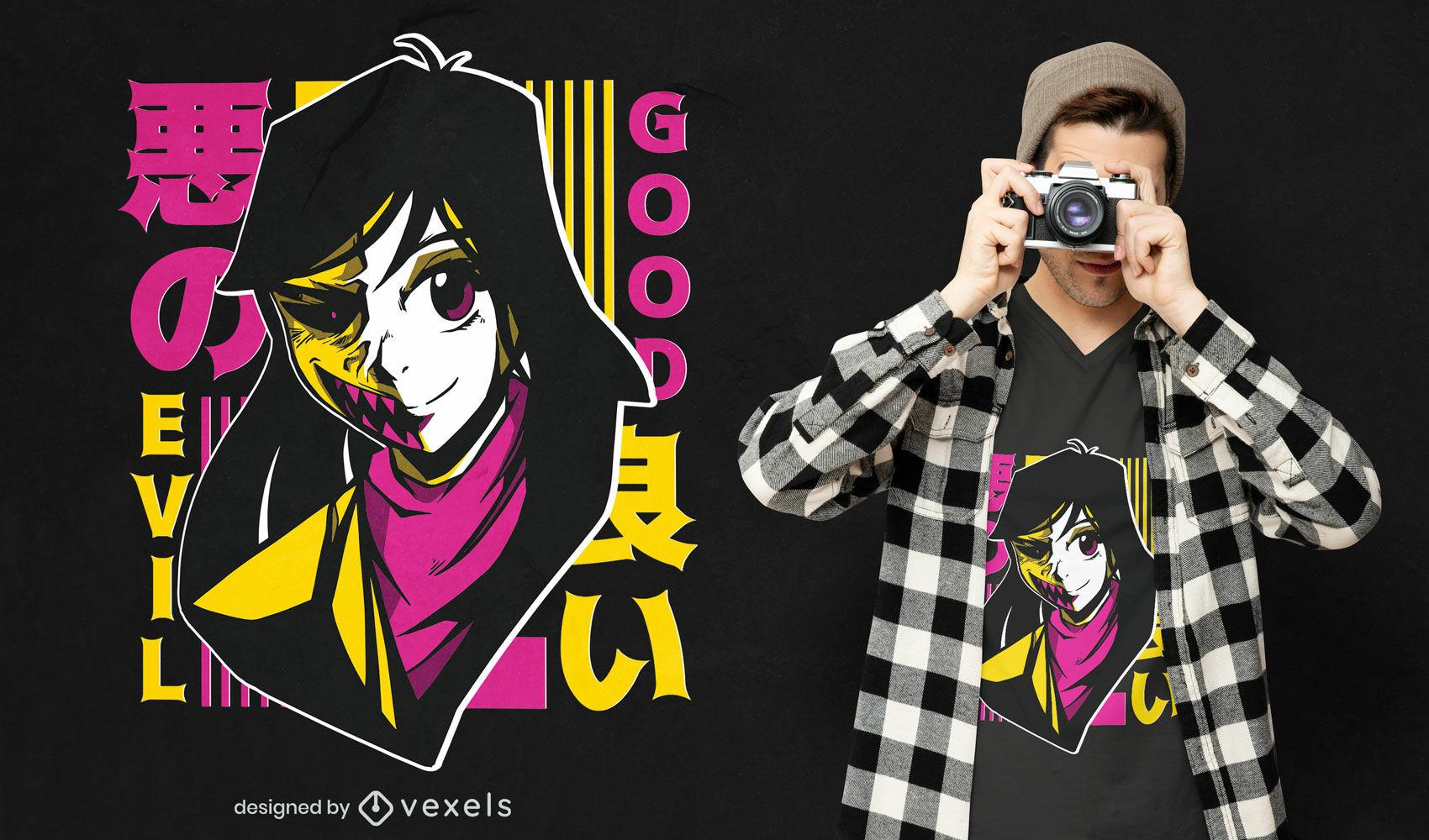 Anime good & evil girl t-shirt design
