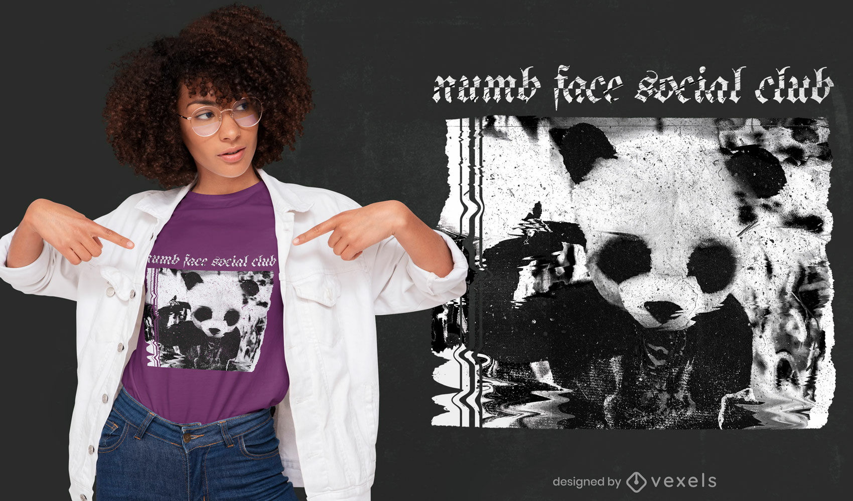 Diseño de camiseta psd con disfraz de panda glitch