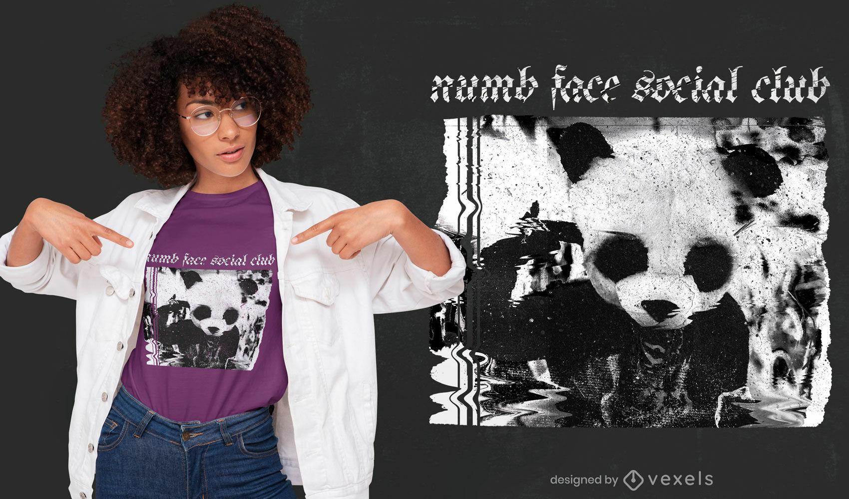 Glitch panda costume psd t-shirt design