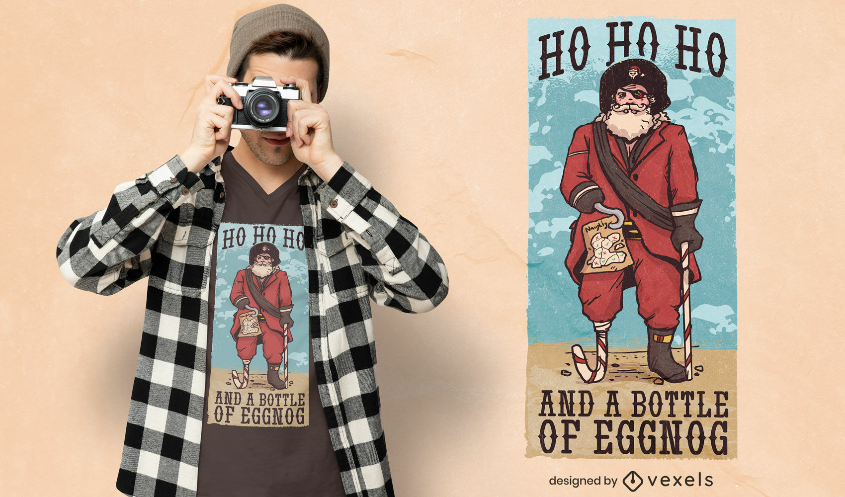 Dise?o de camiseta pirata Santa Claus