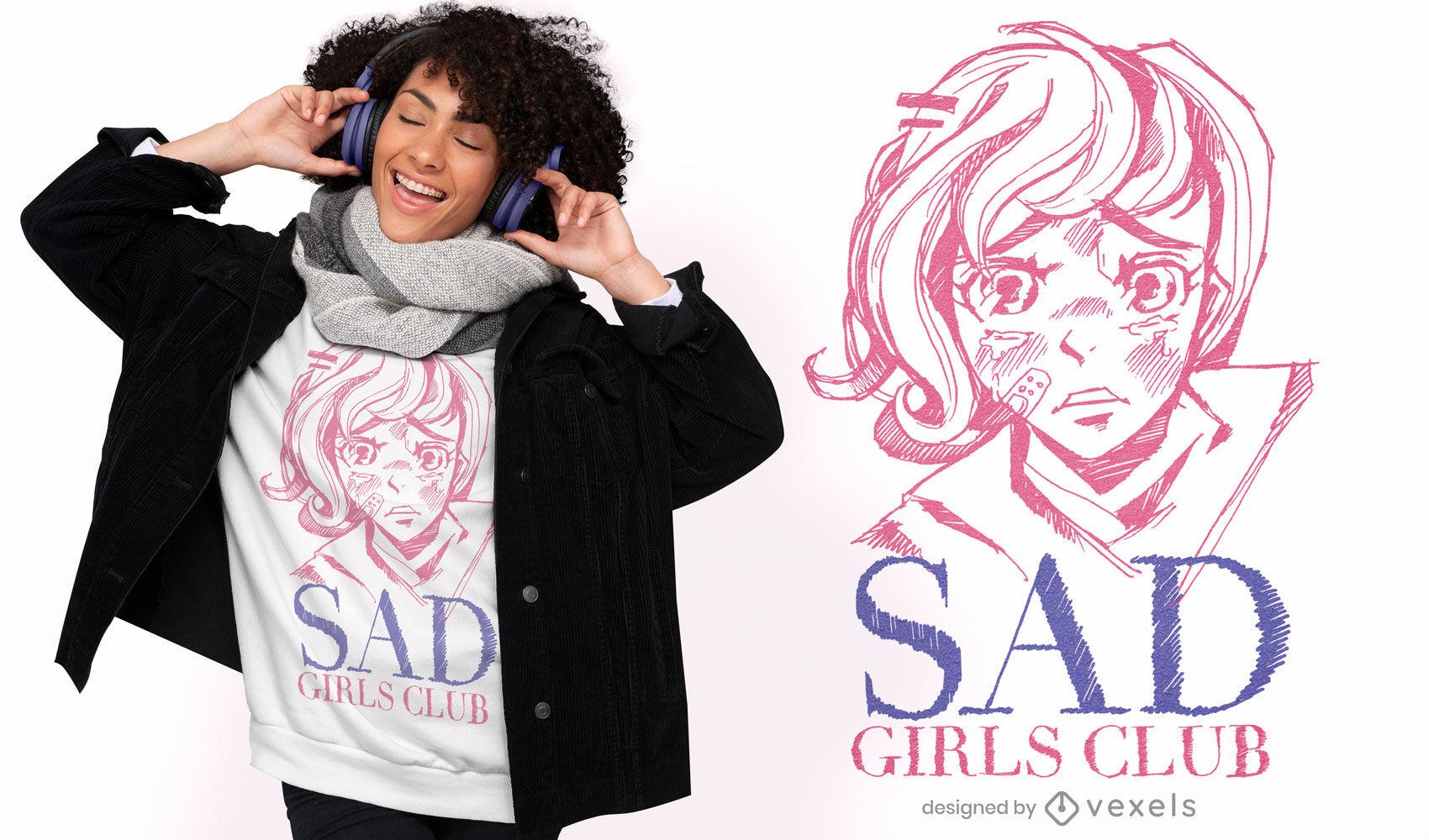 Dise?o de camiseta de anime sad girls club