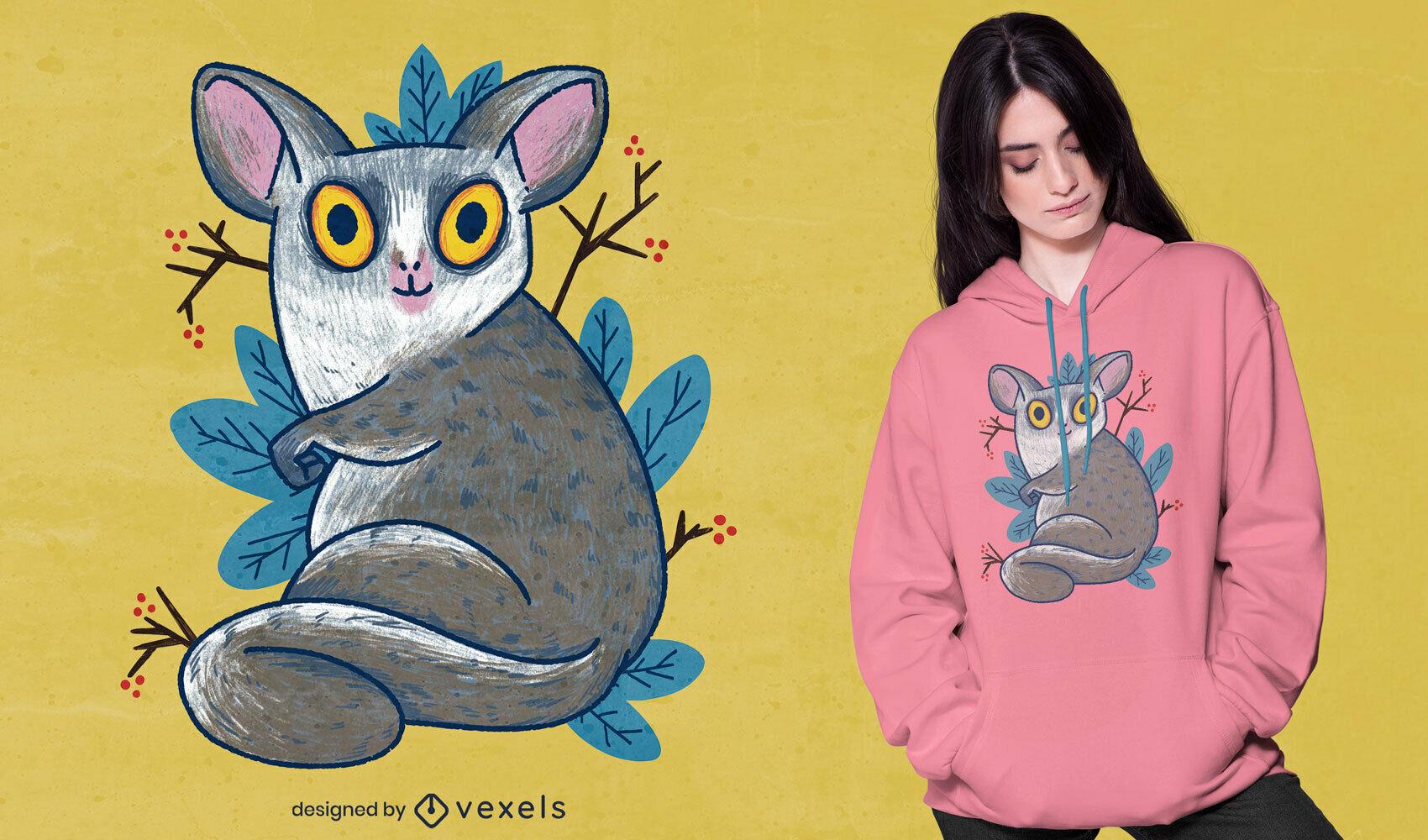 Cute lemur animal hand drawn t-shirt psd