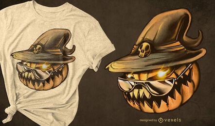 Kürbiskopf Hexenhut Halloween T-Shirt PSD