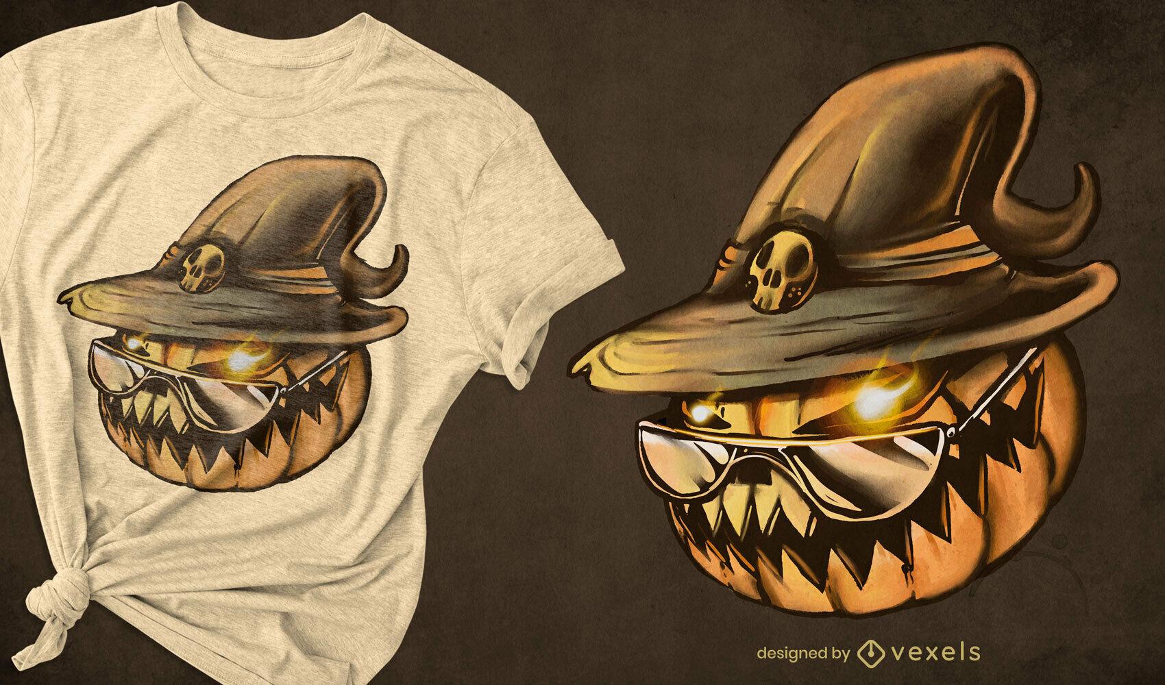 Cabeza de calabaza sombrero de bruja camiseta de halloween psd