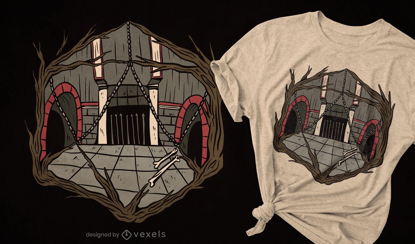 Diseño de camiseta de dados de mazmorra.