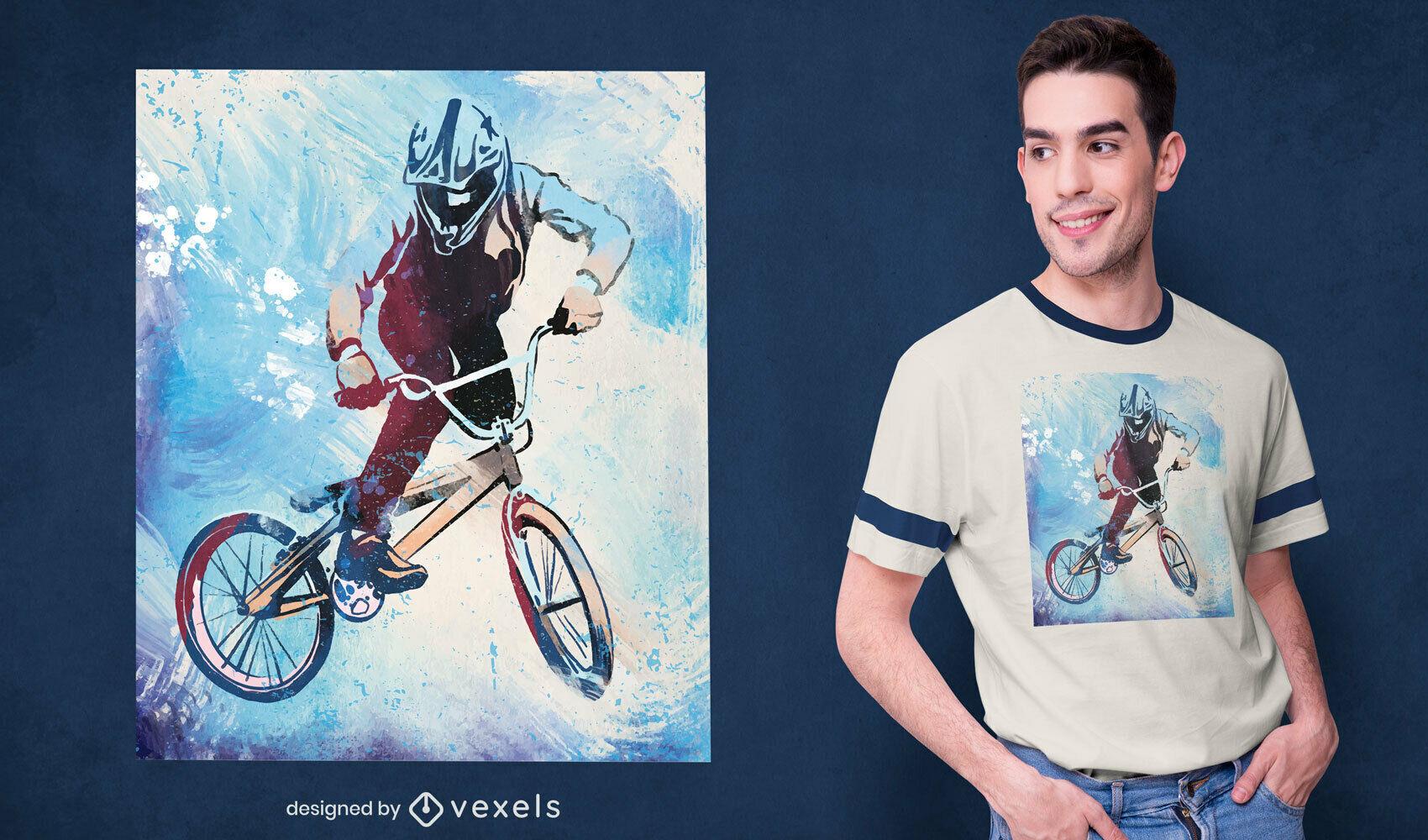 Cool biker stunt watercolor t-shirt psd