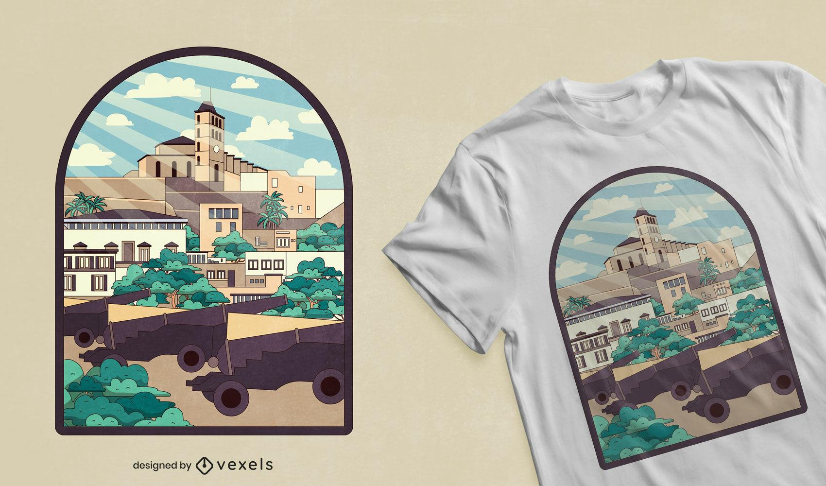 Diseño de camiseta de paisaje de la ciudad de Ibiza.
