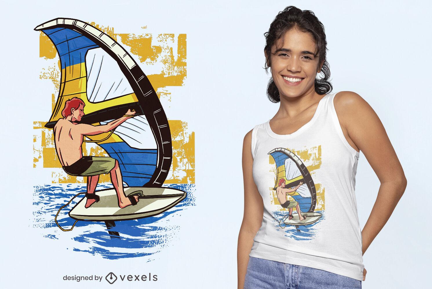 Wing surfing t-shirt design