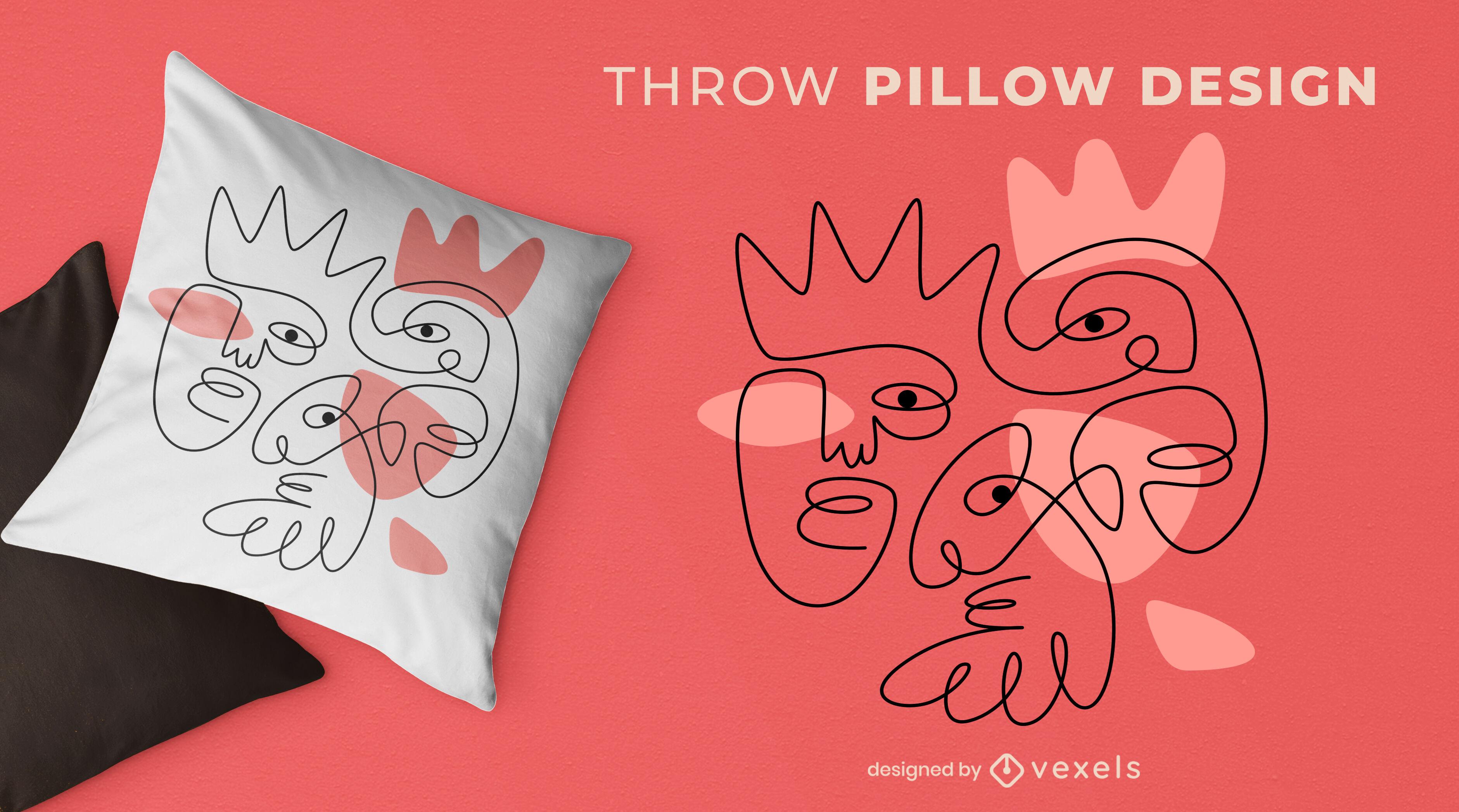 Continuous line faces throw pillow design