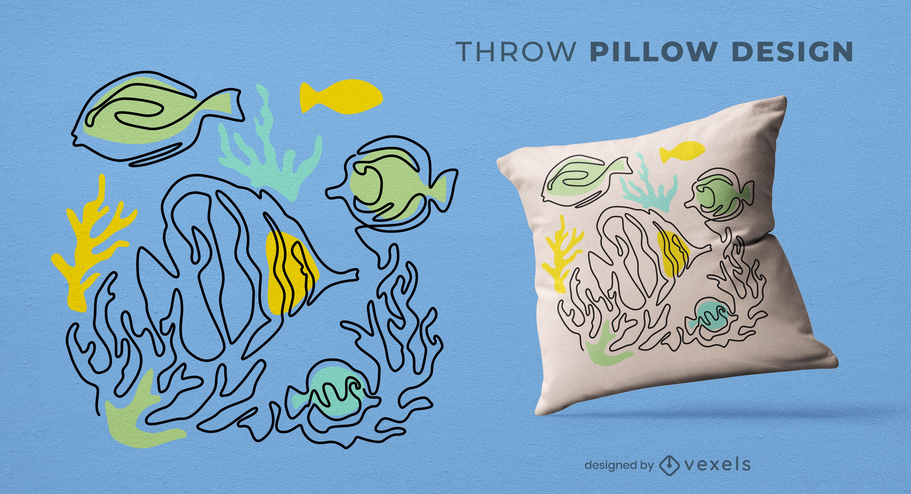 Continuous line fish throw pillow design