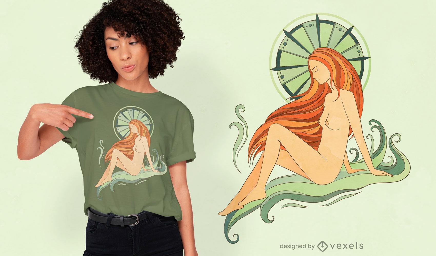Diseño de camiseta de mujer mística.