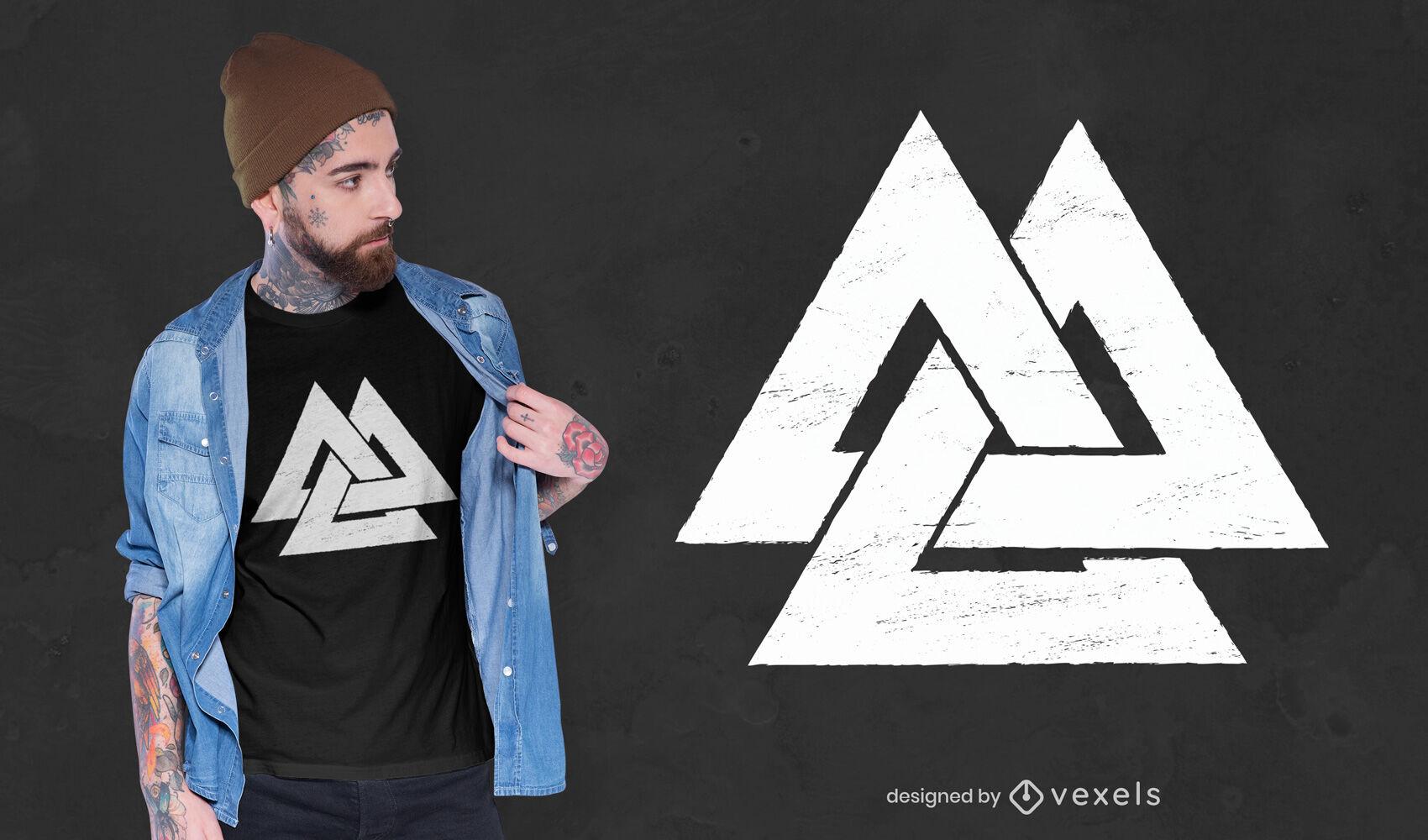 Diseño de camiseta con símbolo de Valknut