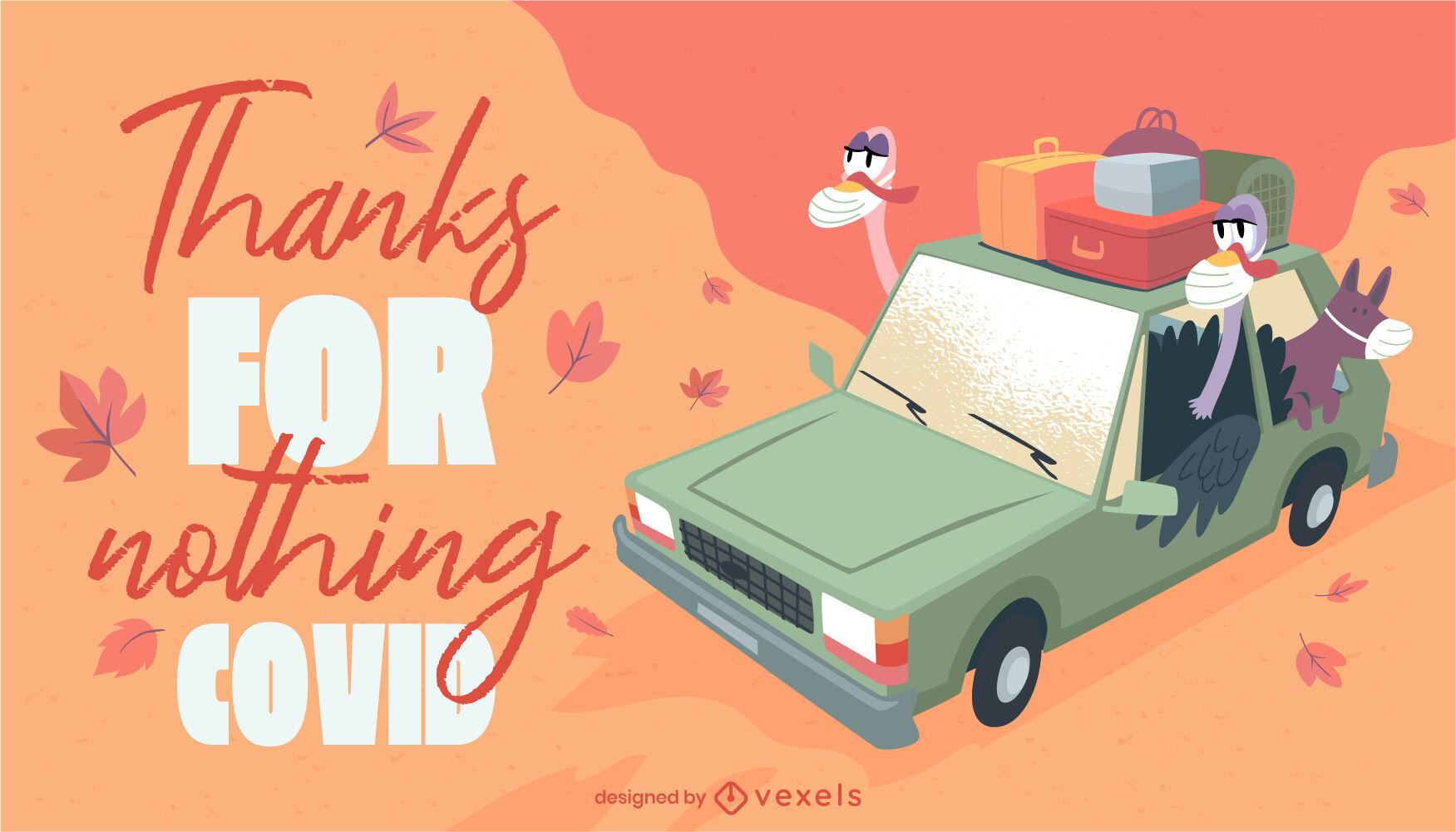 Thanksgiving cartoon turkeys covid lettering