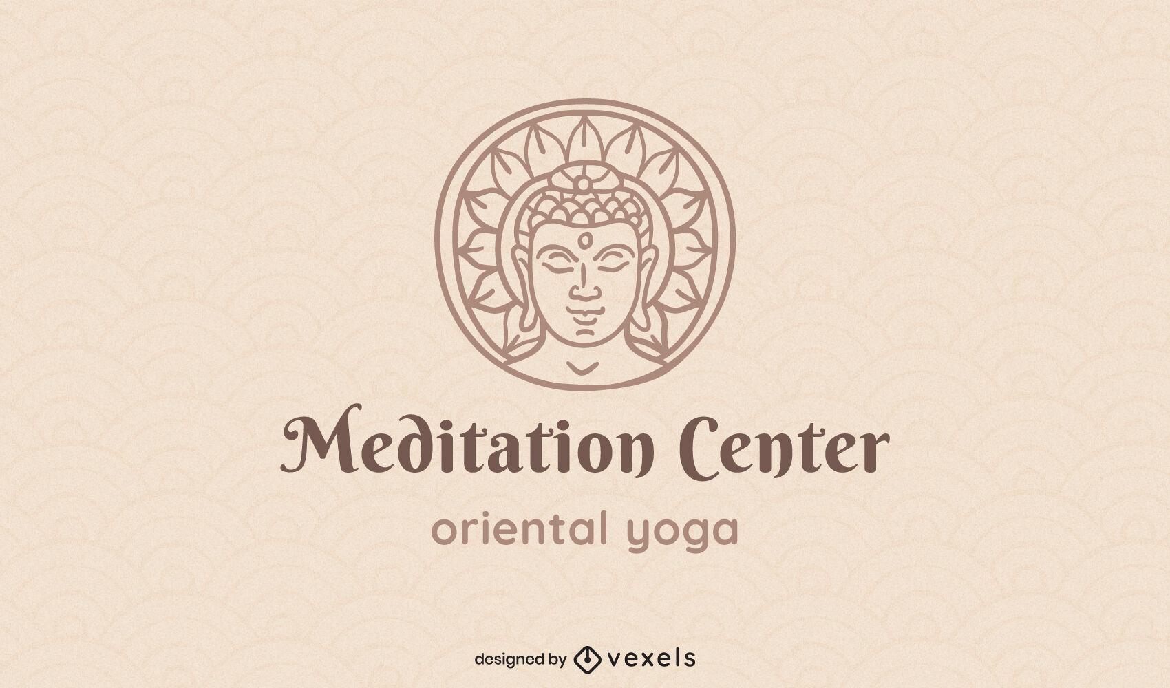 Logotipo de trazo de templo de meditación