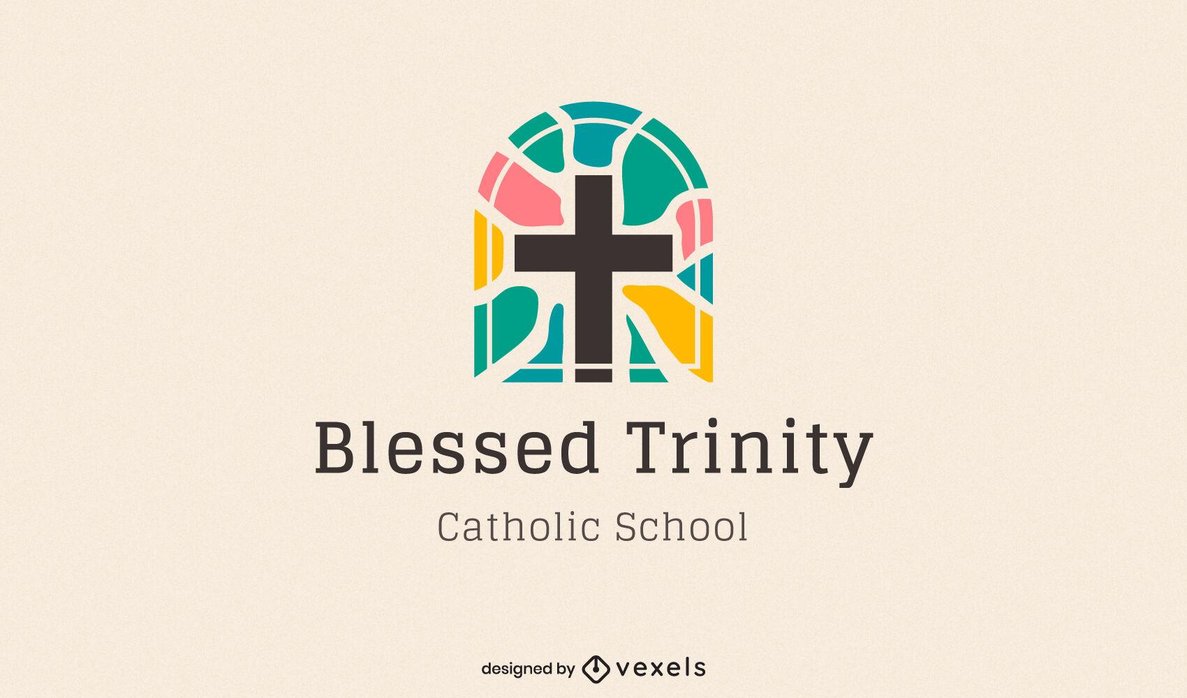 Catholic cross colorful logo