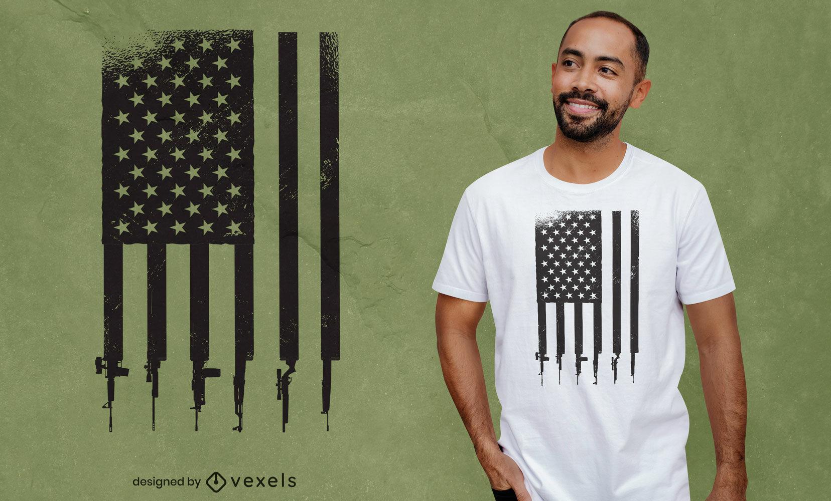 Design de t-shirt da bandeira das armas dos EUA