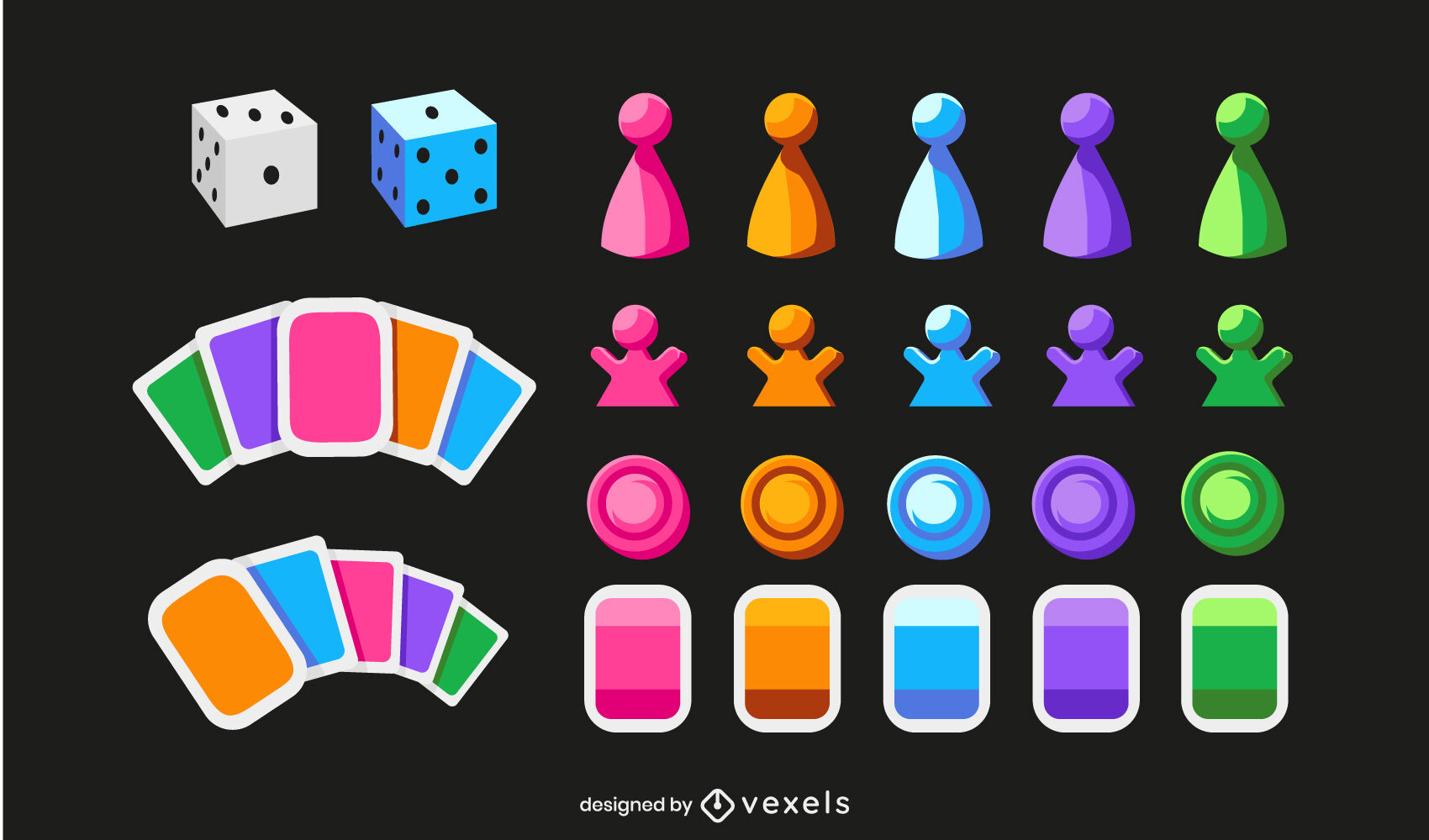 Board game pieces and cards hobby set