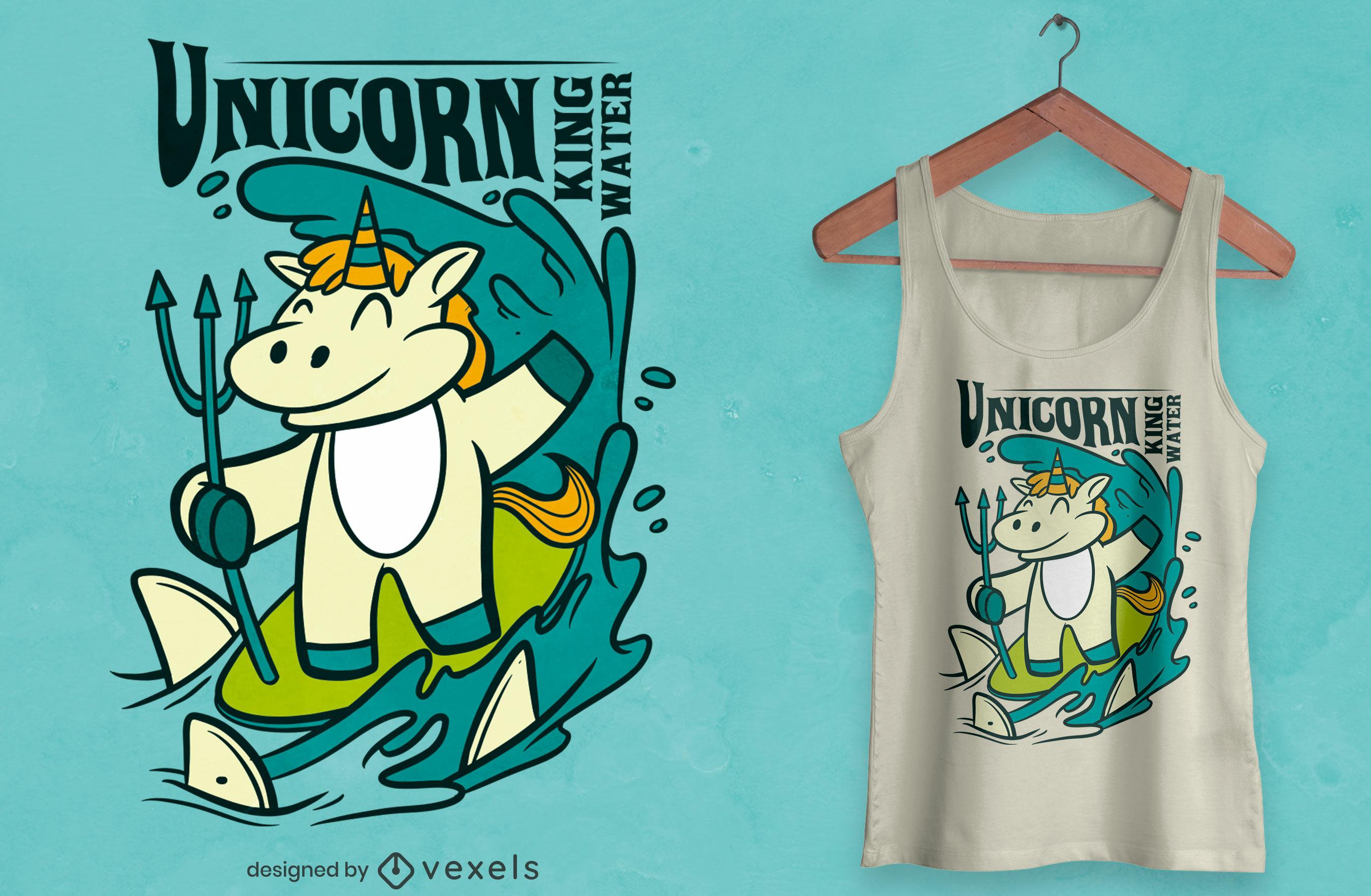 Surfing unicorn cartoon t-shirt design