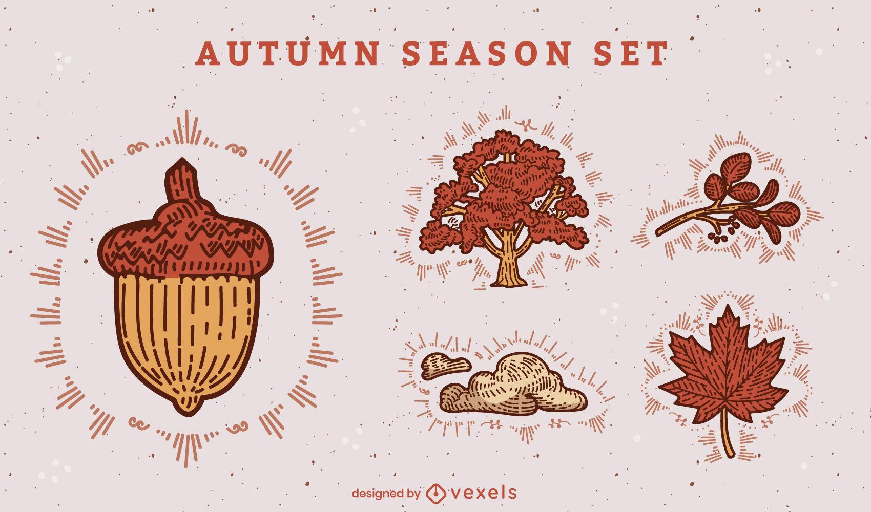Autumn elements color stroke set