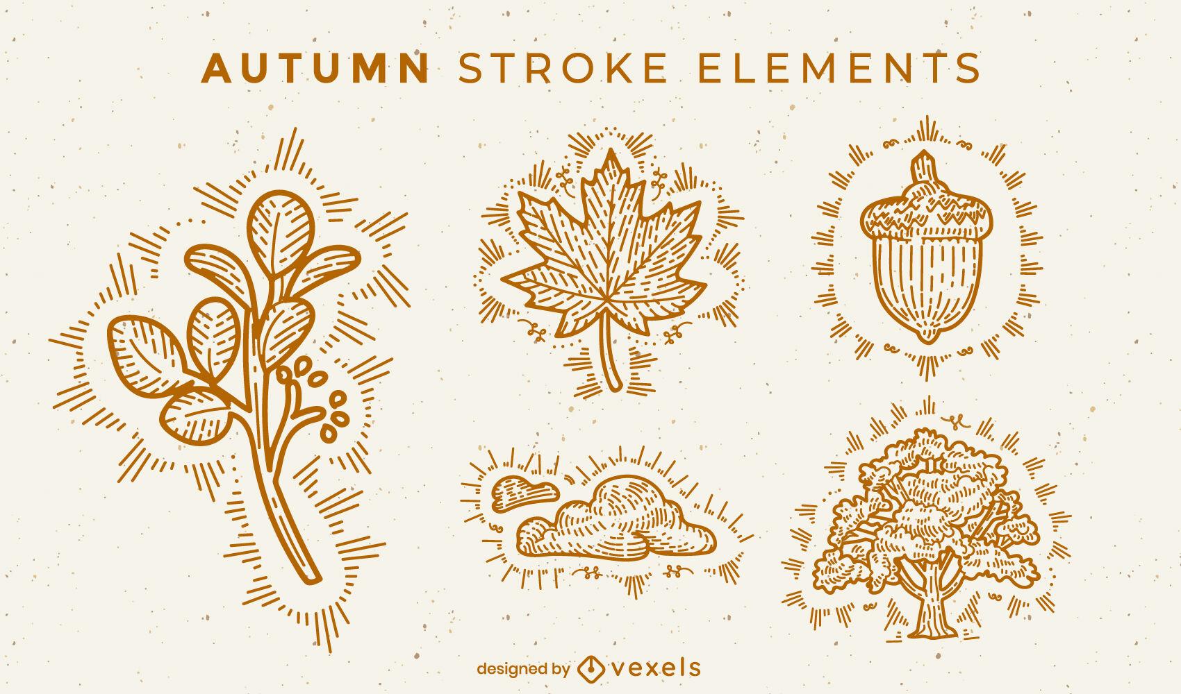 Autumn elements stroke set