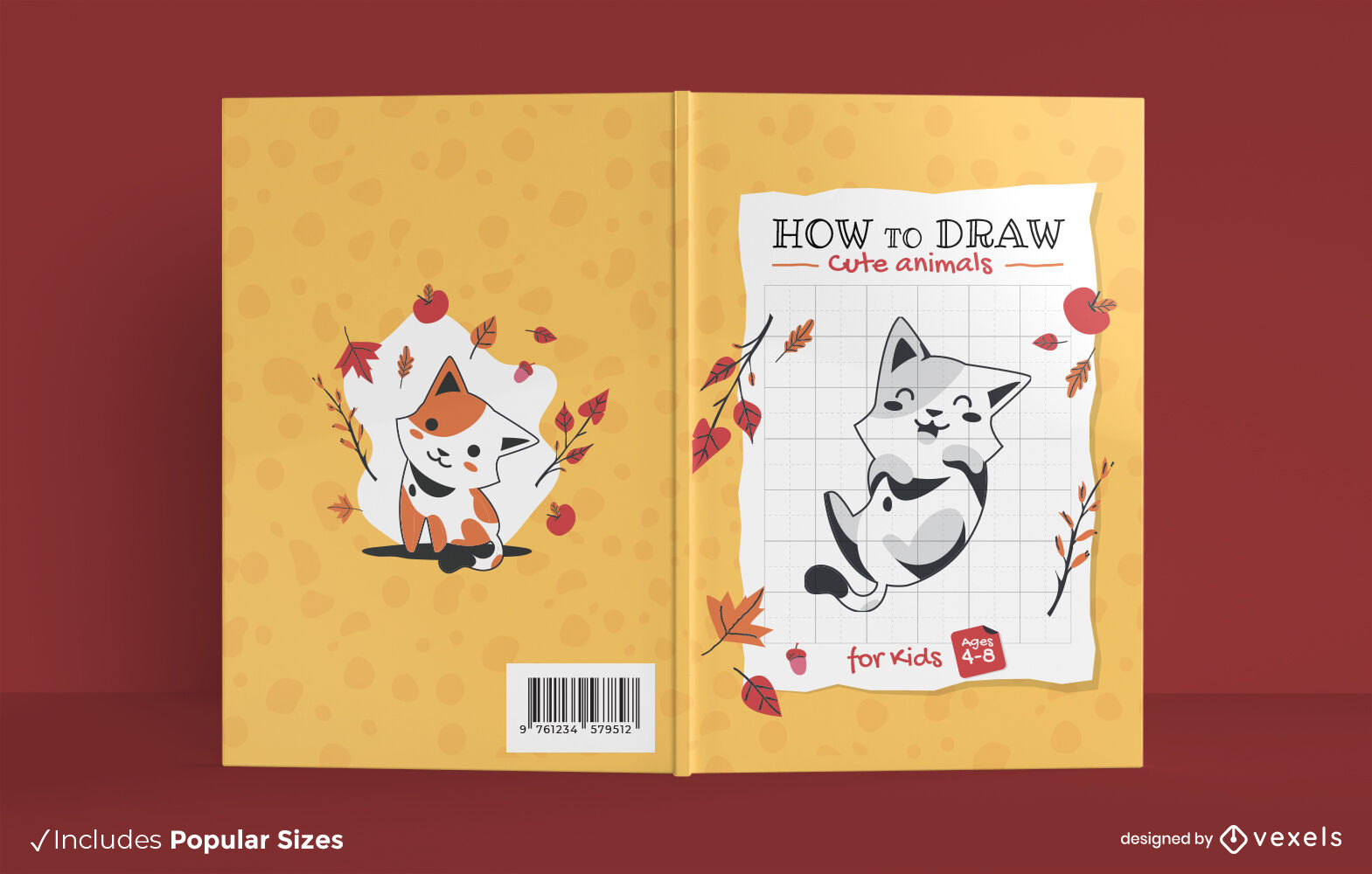 Cute animal drawing book cover design