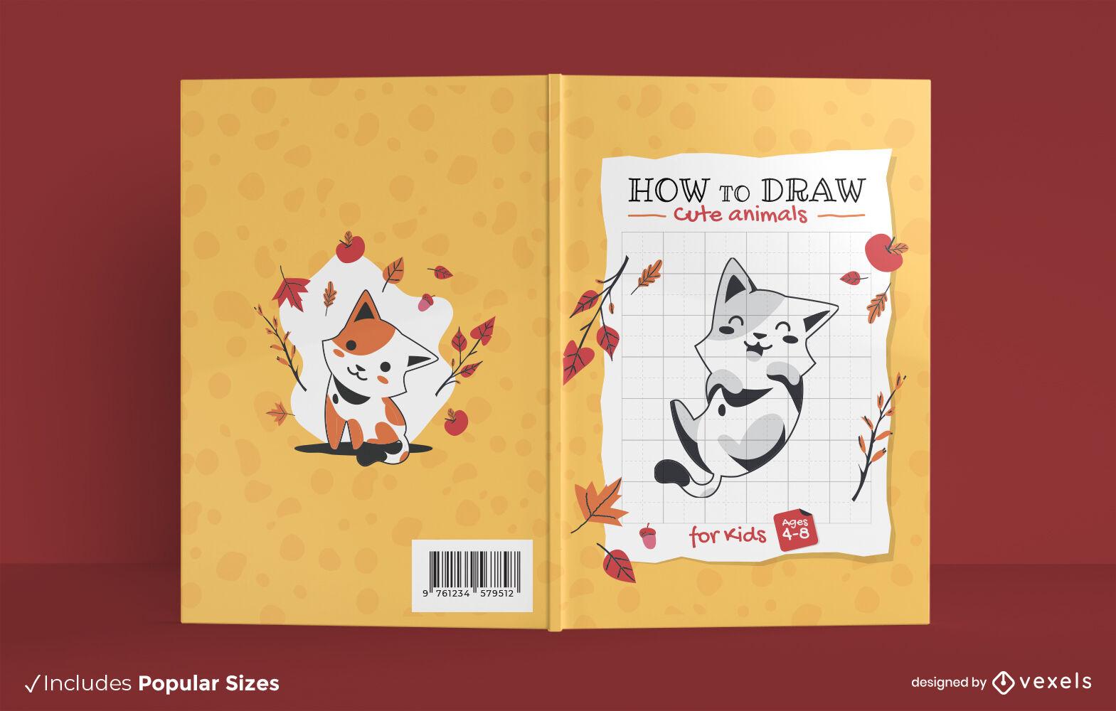 Lindo diseño de portada de libro de dibujo de animales