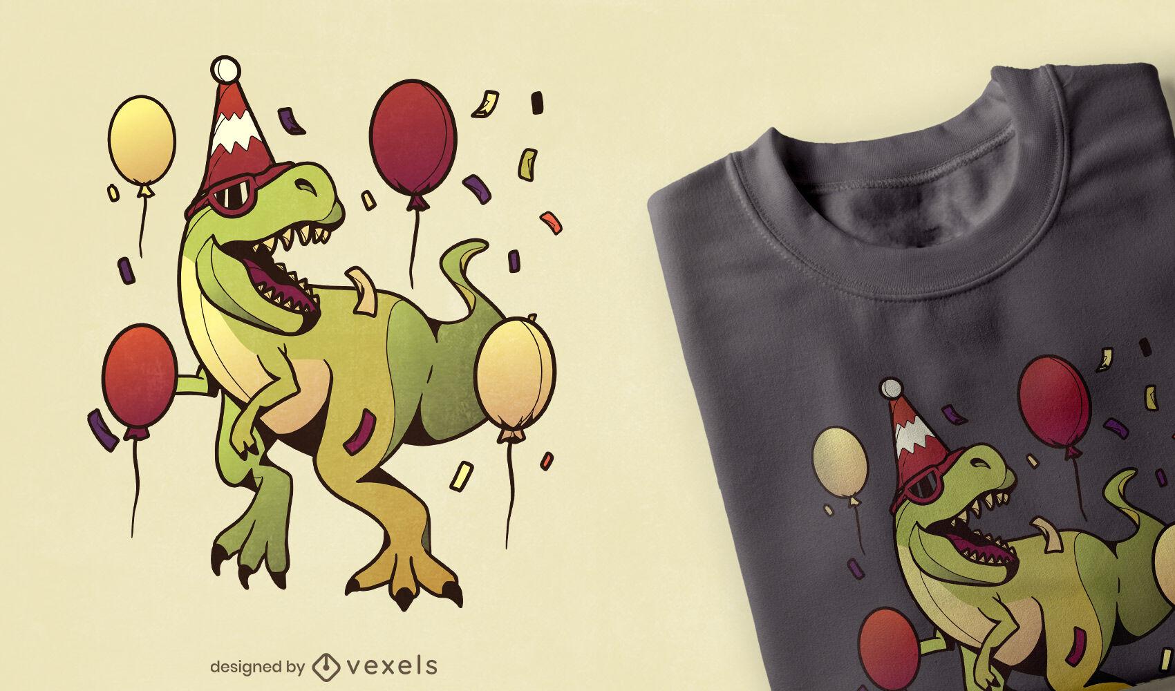 Design de camiseta para festa de aniversário T-rex