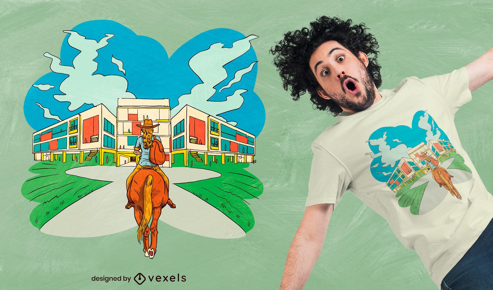 Dise?o de camiseta de escuela de ni?a caballo.