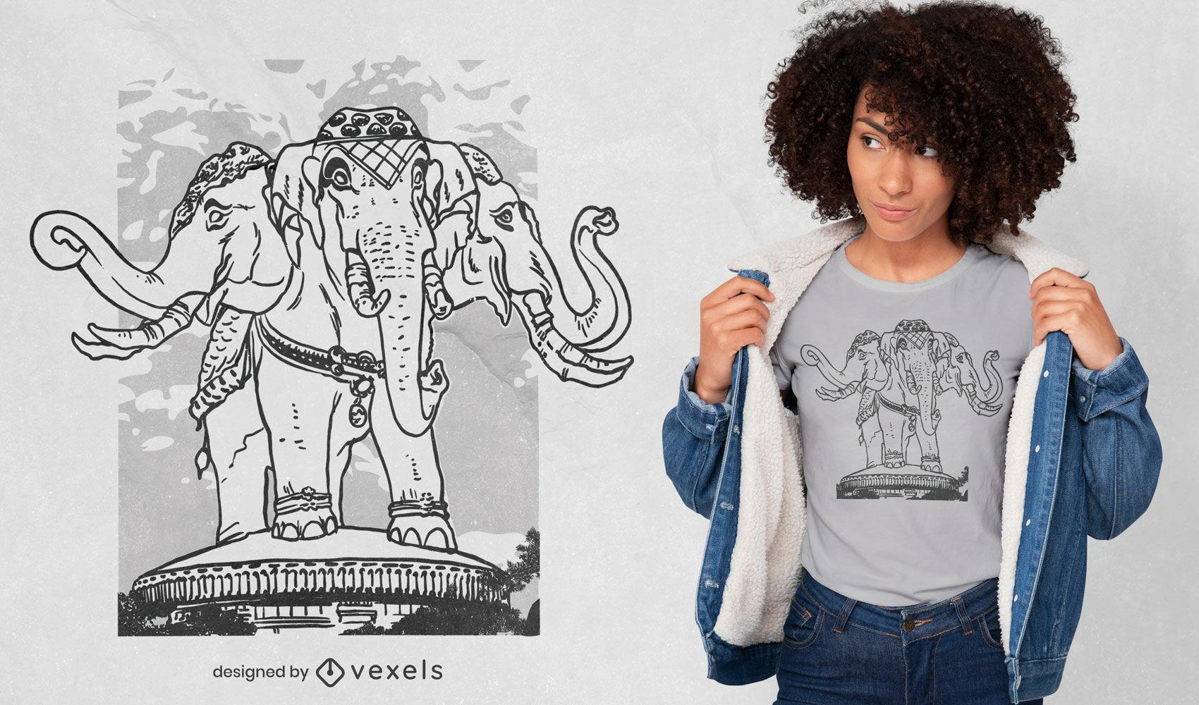 Design de camiseta de elefante de três cabeças