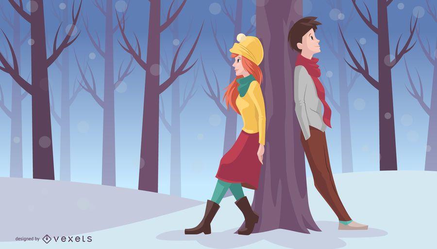 Pareja de Navidad se inclina en el árbol