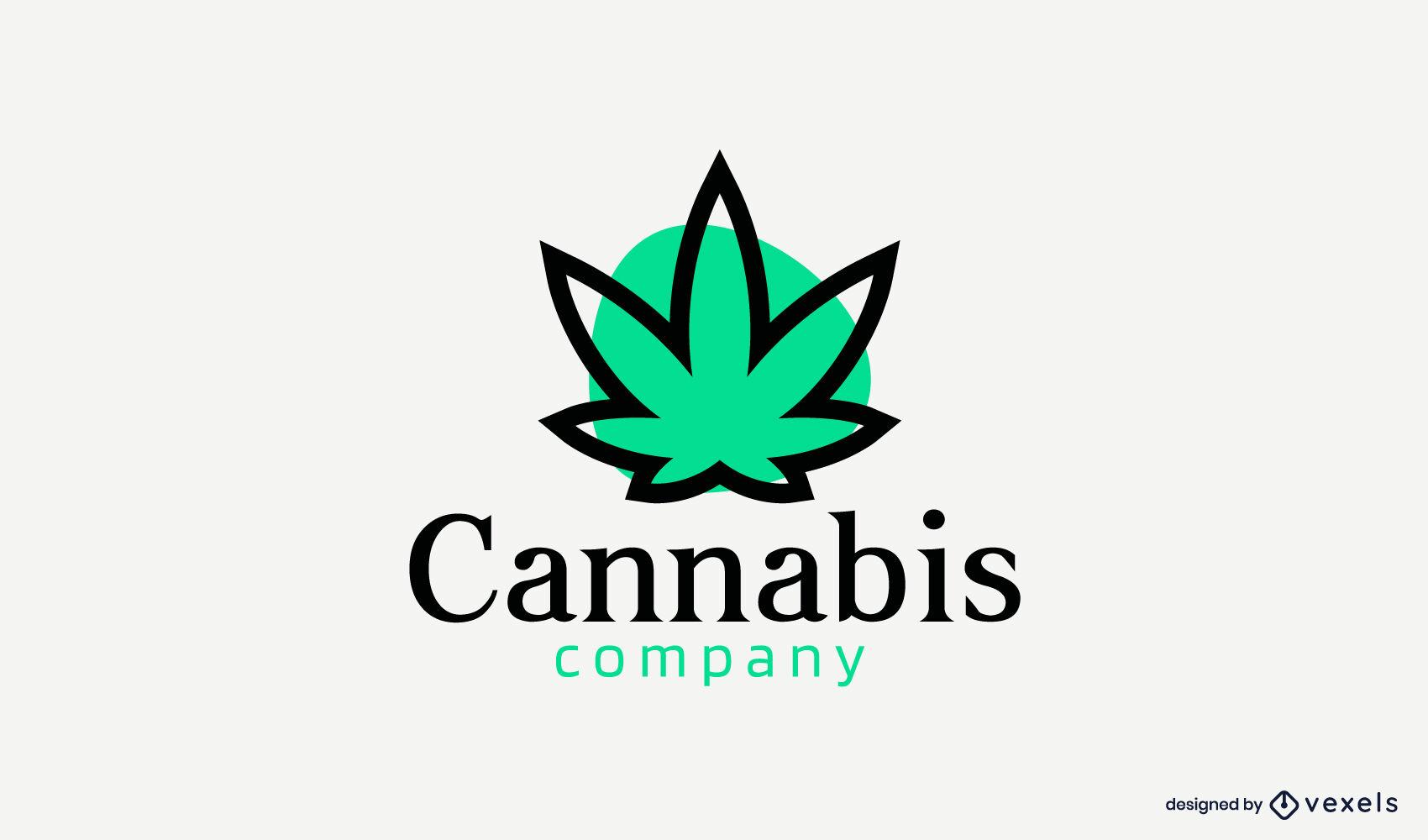 Cannabis leaf color stroke circle logo
