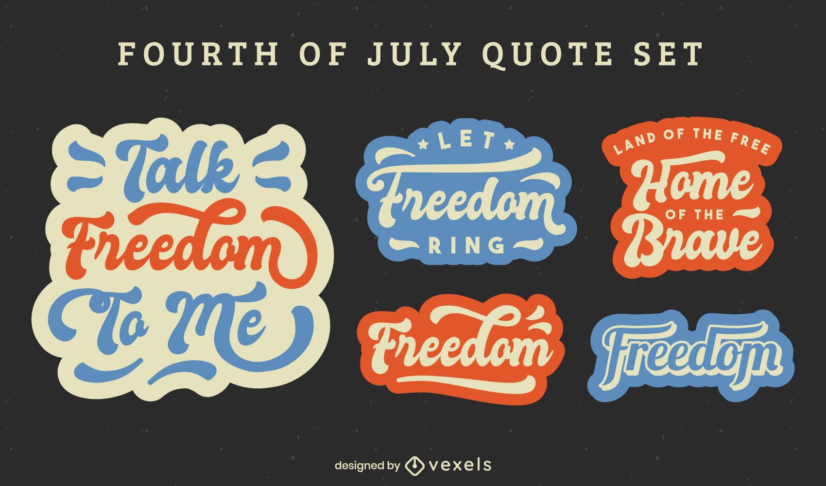 Conjunto de pegatinas de letras de cotización del cuatro de julio