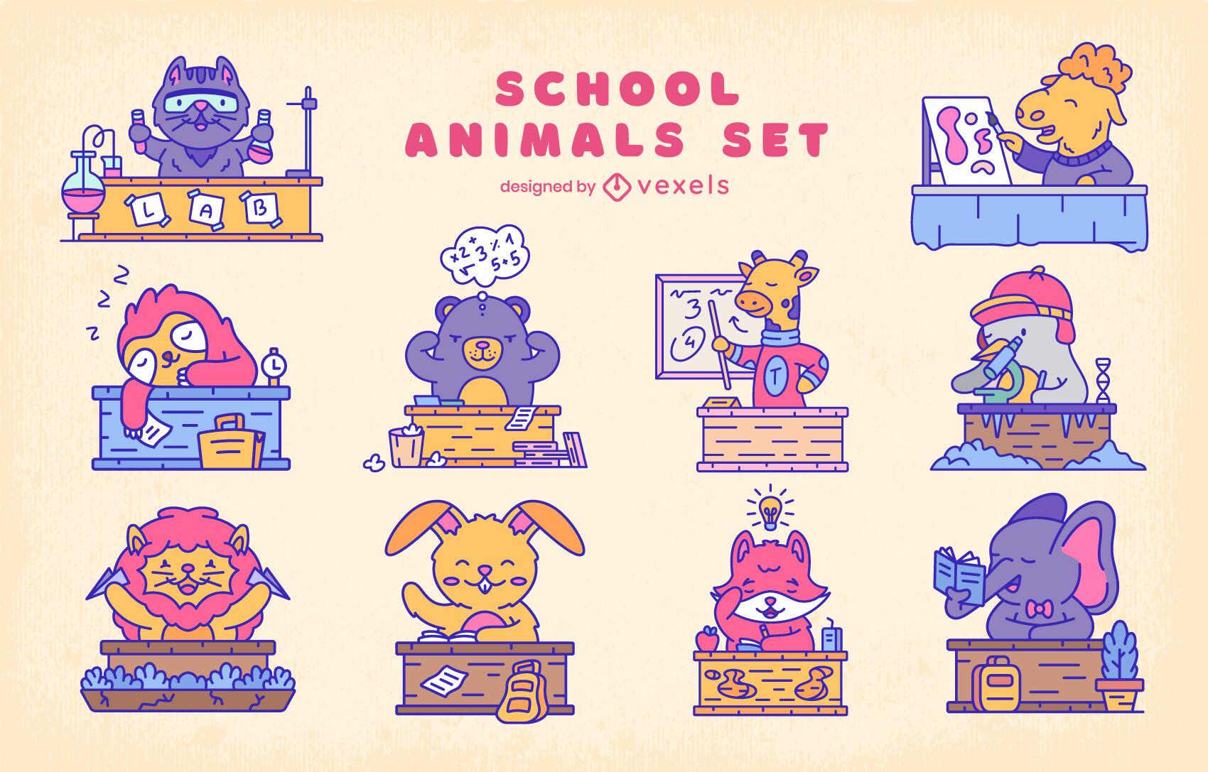 Conjunto de trazos de color de animales en la escuela.