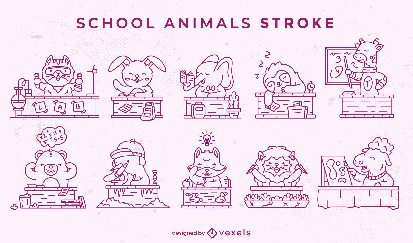 Conjunto de animales en la escuela.